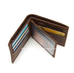 Homem de viagem em pele genuína de moda o titular do cartão de crédito Pocket Coin Cercadores com dinheiro Encaixar Wallet por grosso