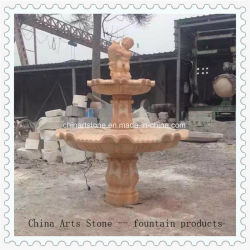 Granit-/Marmor-roter Steinbrunnen für quadratischen Park