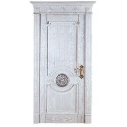 熱い販売の中国のホーム振動外部の前部王冠の倍の葉のアーチ手は切り分ける格子固体正面玄関の木のドアデザイン(EF-V009)を