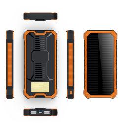 LED de alta capacidade com portas duplas no exterior da luz solar Banco de alimentação do carregador de telefone 10000mAh