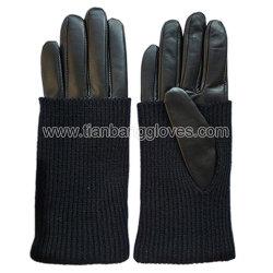 Stilvoller Multifunktionsdame-Winter-lederner Handschuh mit Knit drehen sich um