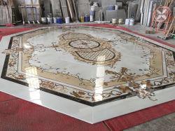 Natürlicher Steinwasserstrahlmedaillon-Einlegearbeit-Marmor-Innenbodenbelag