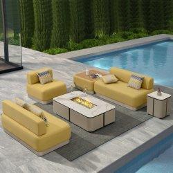 Restaurante Sofá secional no exterior do mobiliário de jardim do pátio conjuntos com Lareira