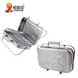 حقيبة صغيرة محمولة في الهواء الطلق من الفولاذ المقاوم للصدأ شواء الفحم في الداخل