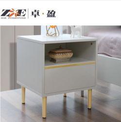 현대적인 패션 디자인 로얄 침실 가구 더블 침대 측면 밤 서랍이 있는 테이블