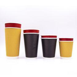 Prezzo di fabbrica fornitore produttore per 4oz 7oz 8oz 12oz 16oz Tazze da caffè in carta da parete con doppio ripple