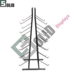 Estante de alambre de metal para mayoristas estante de suelo de soporte de pantalla bastidores de ojiva Con la cremallera de metal de la cabecera personalizada Nike Rack