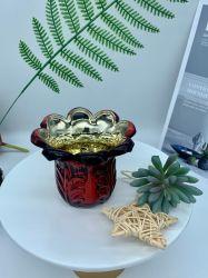 Groothandel New Desihn Europen Style Luxe Goud/ metalen kandelaar met glazen Kaarsenhouders, glazen container, glazen Bloempot