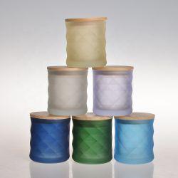 中国の工場の製造者はすりガラスの蝋燭のホルダーの瓶を曇らせた様式ティーライトする 丸型ガラスキャンドルジャー、木製の蓋付き