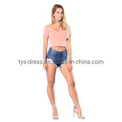 أزياء جديدة سيدات قصيرة ضيق جينز قصيرة مهترئة عال نساء الخصر الجينز