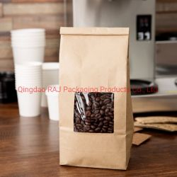 قهوة ورقيّة يقف بلاستيكيّة فوق كيس مجموعة مع [فلت بوتّوم] نافذة