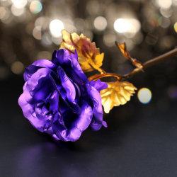 2021 جديد نمط LED غالاكسي روز نجوم السماء الذهبية من الذهب بلانت فيلم غالاكسي وردة من رقائق الألومنيوم في عيد الحب