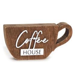 Cartello da tavolo a forma di tazza da caffè, Coffee House in legno d'epoca