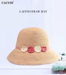 花を持つ女性のための麦わら帽子の女性夏浜の日曜日のカスタムRaffia Paper Cap Floppyパナマ麦わら帽子