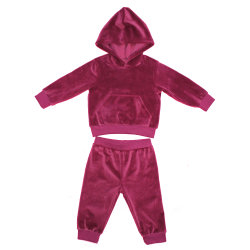 Baby Girls New Style Fleece Rib Cuff Hooded Top met Trackpant 2-pack