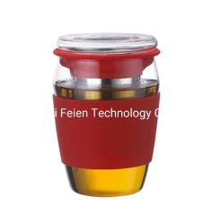 450ml en verre résistant à la chaleur tasse de thé avec couvercle et infuser en acier inoxydable