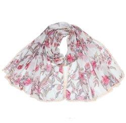 2021 Grosso novas mulheres Moda Senhora Primavera Verão a praia de design da marca lenço Xale Soft Pink Bright cachecóis com rendas Edge e prata para Gilrs de impressão