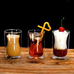 ガラス製品の飲むコーヒーカップ、小型サイズの倍の壁のガラスエスプレッソのコップ