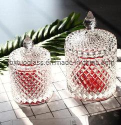 Hot vender velas vidrio Popular frasco con tapa de cristal