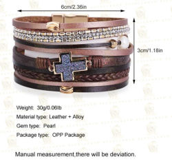Bijoux explosive de Bohême Bracelet multicouche tissé incrusté Croix Pearl Bracelet en cuir
