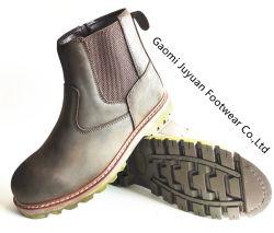 Cavalo completo botas de couro, Goodyear Welt inicializa com zíper e pano elástica