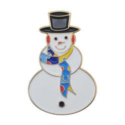Chapado en oro de la moda Navidad muñeco de nieve Prendedores