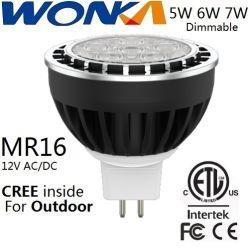Gradation 5W/6W/7W Lampe LED MR16 spotlight ampoule pour éclairage du paysage avec ETL/cETL