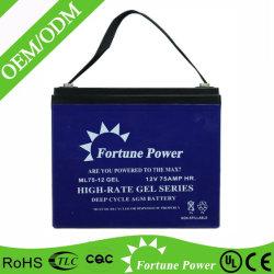 Batterij van de Telecommunicatie van de Batterij van het Onderhoud de Vrije ZonneUPS van de Fabriek van de batterij 12V75ah Gebruikte