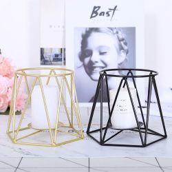 Artesanato dons preto e dourado pilar do fio de metal suporte para velas com ferro