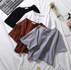 Frauen-Getreide-Stück-Hemd-die gedruckten Frauen-Shirt-Drucken-Ebenen-Baumwolldünnen Sitz-Getreide-Oberseite-Frauen 100% kundenspezifisch anfertigen, die Form-normales T-Shirt kleiden