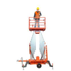 6m 8m 10m 12m 14m 16m 18m de altura de elevación hidráulica de aleación de aluminio tipo móvil Mástil doble hombre trabajos aéreos plataforma de elevación vertical