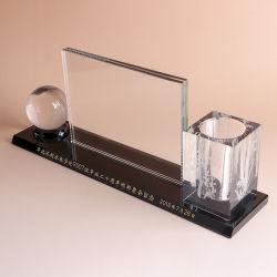 Titular de la pluma de cristal Reloj de cristal para material de oficina