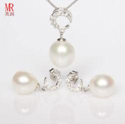 925 pérola de água doce conjunto de jóias de prata, Pendente, Earrrings