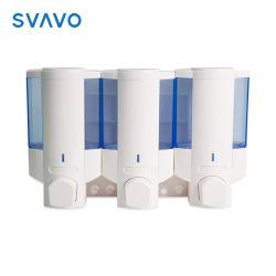3 Secção Sabão, Shampoo/loção Dispensador de sabão Manual com gancho de armazenamento