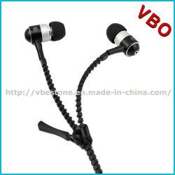 Auriculares de metal Zipper fone de ouvido com microfone com Super Bass