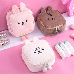 Пользовательский логотип животных малых мягкие ткани макияж косметические мешки поездки Cute составляют чехол сумка с молнией для женщин девочек
