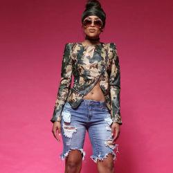 Mesdames irrégulière de style classique de camouflage veste en cuir à fermeture éclair