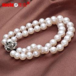 5-6mm double rond et blanc perle de culture Bracelet bijoux de mode