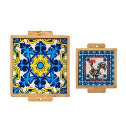 Ceramica/Tile/Porcelein Pant e Coppa Coaster con cornice in legno 10X10/11.5X11,5 cm per Natale souvenir promozione con dimensioni diverse in buona qualità,