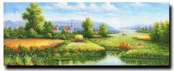 Muro de bellos paisajes de la pintura impresionista Forest Road Decoracion Pintura al Óleo sobre lienzo paisaje poblado Natural chino
