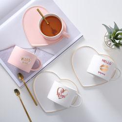 Tazas de mármol chapado en oro par los amantes de la leche de regalo café, té de porcelana taza Mug de cerámica de desayuno con tapa