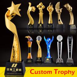 La promotion de gros Custom Metal Craft trophée de cristal Golf de la Coupe de football de soccer de K9 Le Sport Award de la résine de verre acrylique Star Gold Medal trophée pour don de l'événement de souvenirs