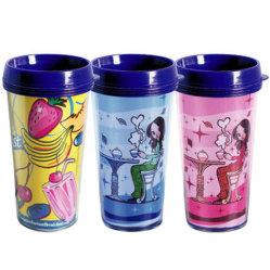450 ml vaso de doble pared de plástico de cambio de color café tazas viaje