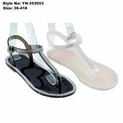 Simple Mesdames Femmes Clip plat Toe sandales en PVC avec Rhinestone
