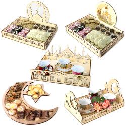 5 soorten het Houten Mohammedanisme Eid Mubarak Dessert Trays Display van Dienbladen DIY voor de Decoratie van de Ramadan Eid