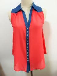 Conception unique de femmes de taille standard queue fourchue mousseline de soie personnalisé Blouse Mesdames Tops