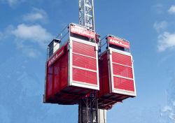 Elevador de pasajeros y materiales de construcción / elevador de bienes conducidos en grúa de piñón y cremallera