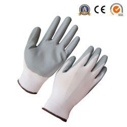 13G白いナイロンはさみ金が付いている灰色のニトリルの上塗を施してある手袋