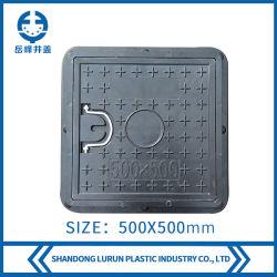 500x500mm FRP/GRP Cuadrado compuesto Tapa de Registro con tirar de los Anillos