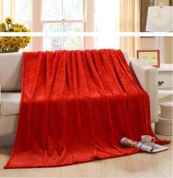 100 % polyester gaufré de gros de la flanelle couverture avec le bord plié